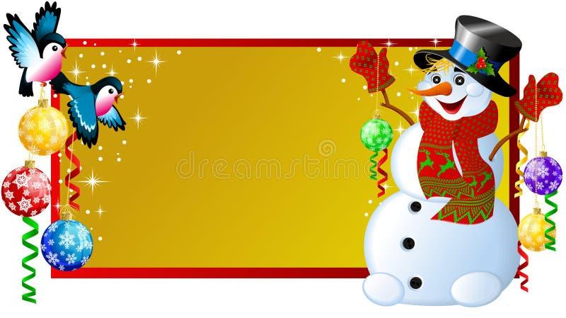 圣诞节标签雪人 库存例证