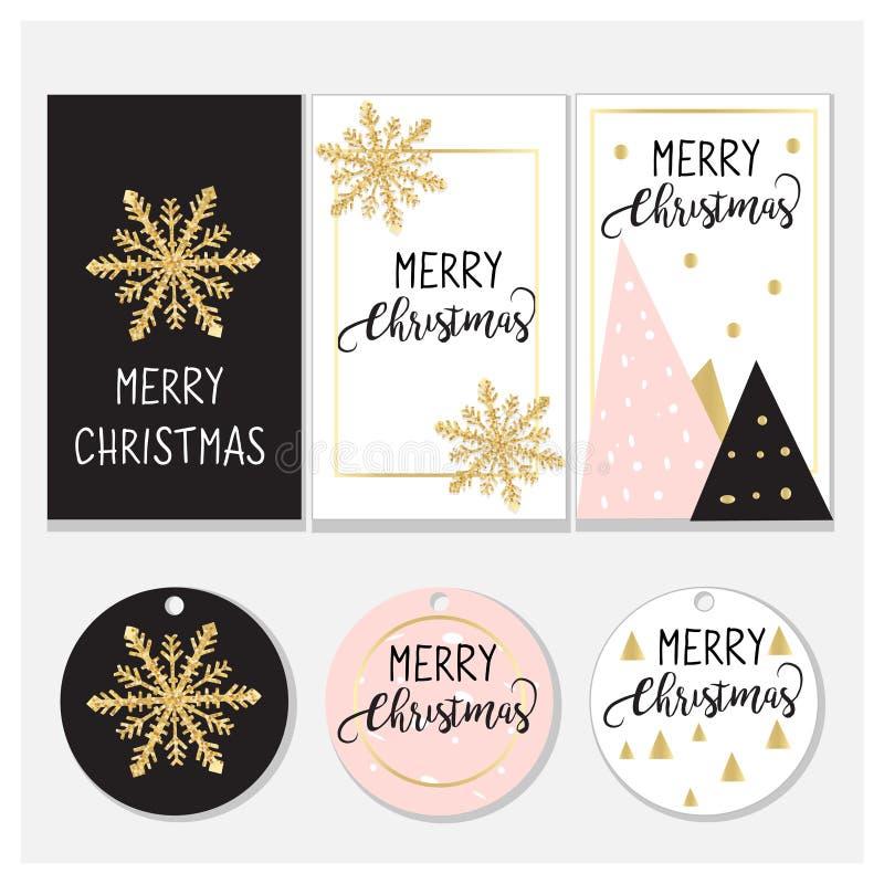 圣诞节标记和卡片设计 典雅的设计:桃红色、金子和黑色 10个背景设计eps技术向量 库存例证