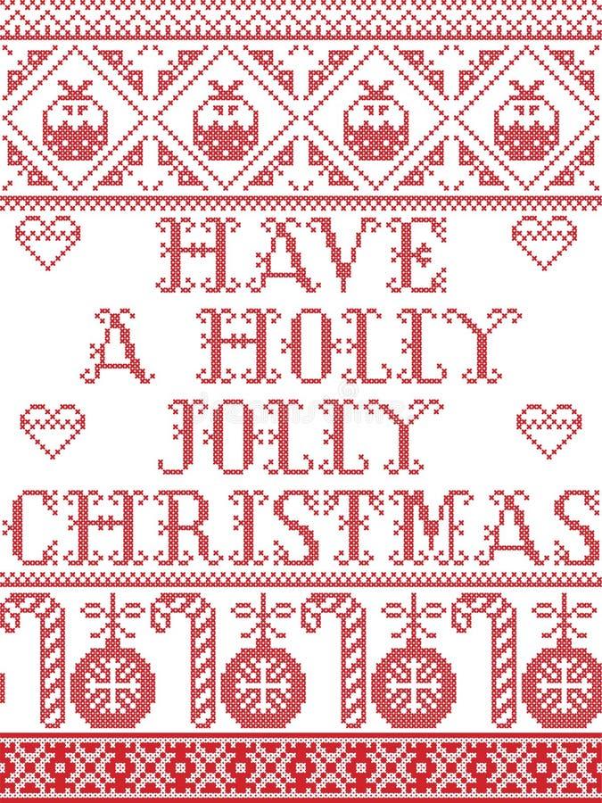 圣诞节样式有北欧文化欢乐冬天之前启发的一个霍莉快活的圣诞节无缝的样式在发怒针w 向量例证