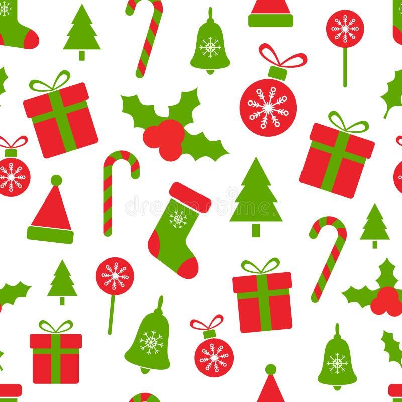 圣诞节样式用霍莉莓果,球,礼物盒,棒棒糖,响铃,树,雪花 无缝的圣诞快乐 皇族释放例证
