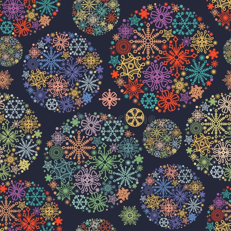 圣诞节样式,五颜六色的雪花 皇族释放例证