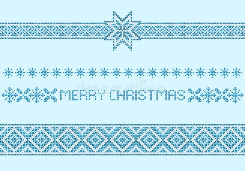 圣诞节样式,边界 十字绣刺绣样式 向量例证