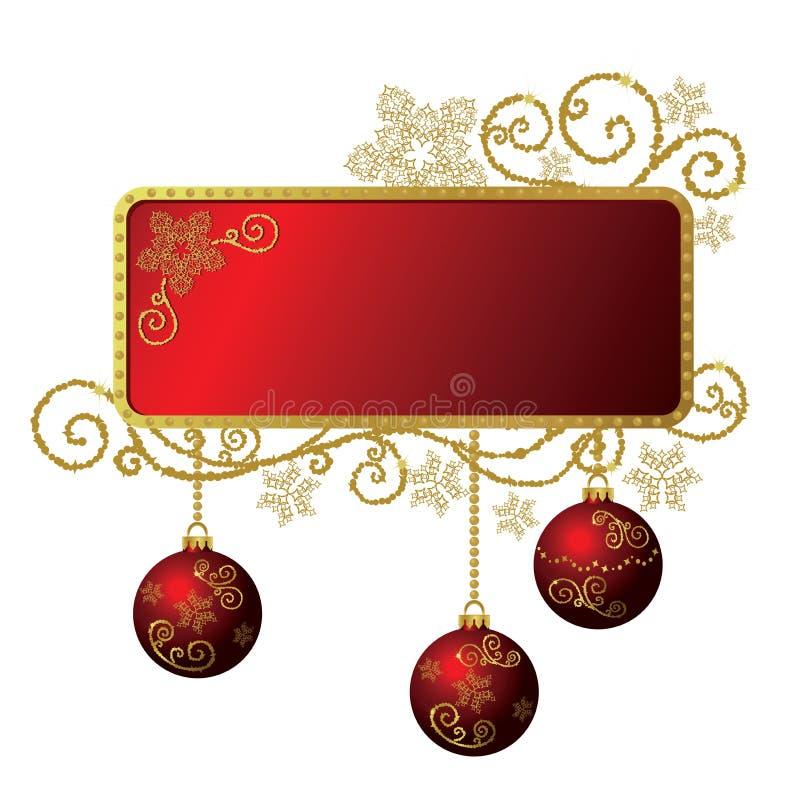 圣诞节框架金子查出的红色 向量例证