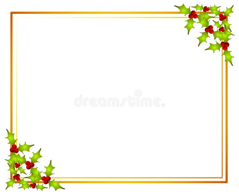 圣诞节框架霍莉叶子 库存例证