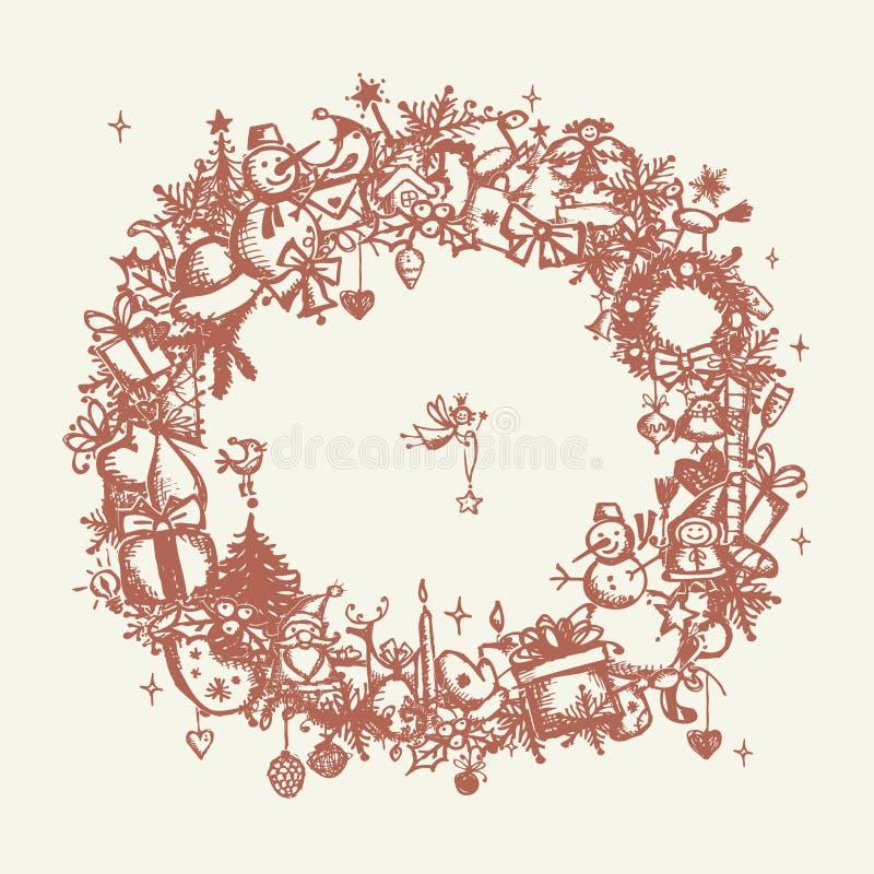 圣诞节框架,您的设计的略图 向量例证