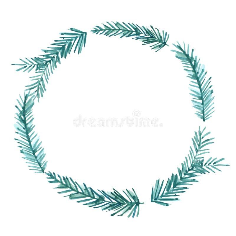 圣诞节框架,水彩花圈 手画 库存例证