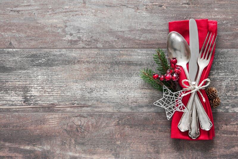 圣诞节桌餐位餐具 免版税图库摄影