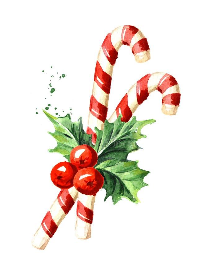 圣诞节棒棒糖用霍莉莓果 水彩手拉的例证,隔绝在白色背景 库存例证