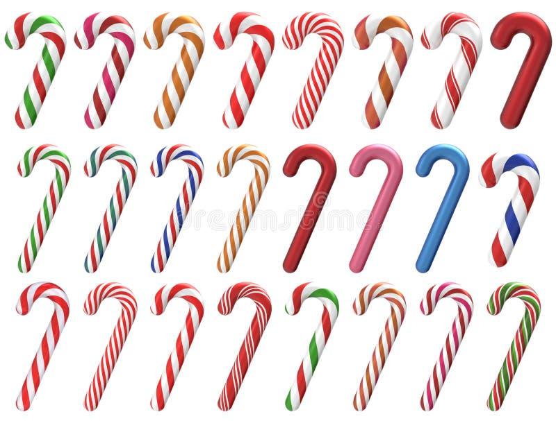 圣诞节棒棒糖集合3D 库存图片
