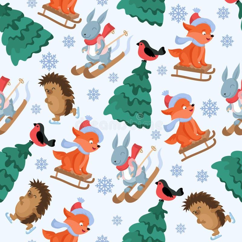 圣诞节森林动物传染媒介无缝的样式 滑稽的森林地动物字符重复背景 皇族释放例证