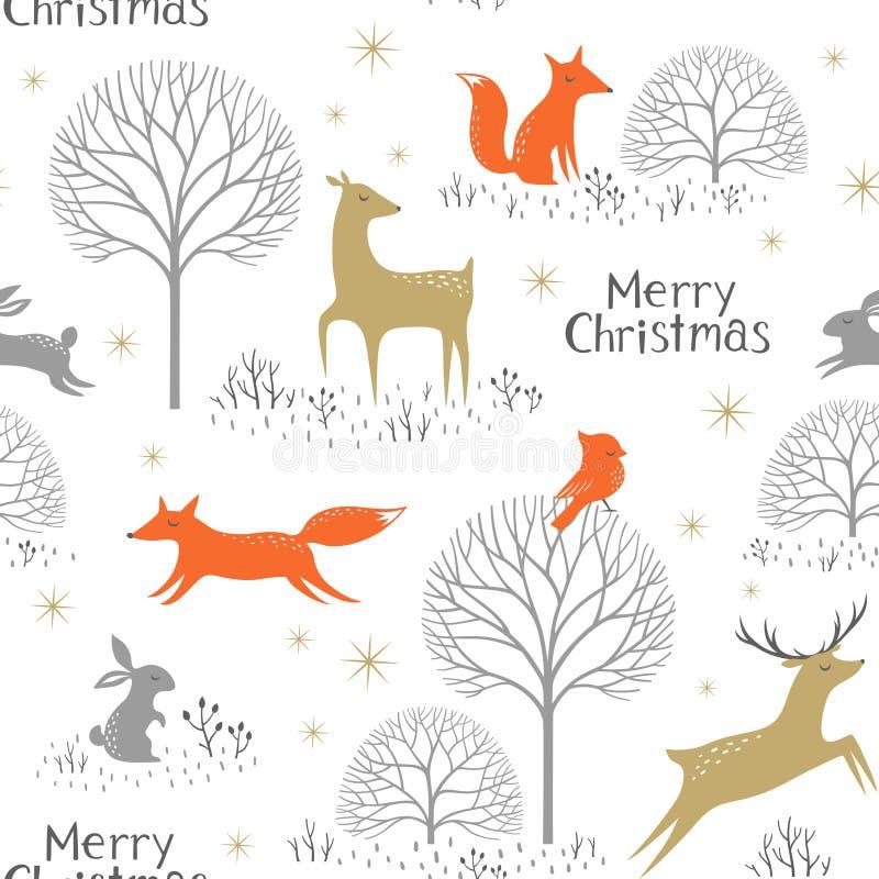 圣诞节森林地样式 库存例证