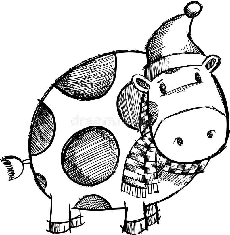 圣诞节概略母牛的乱画 向量例证
