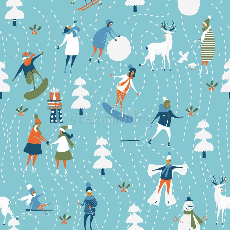 圣诞节模式无缝的向量 墙纸和包装纸手中图画动画片现代样式的假日模板 向量例证