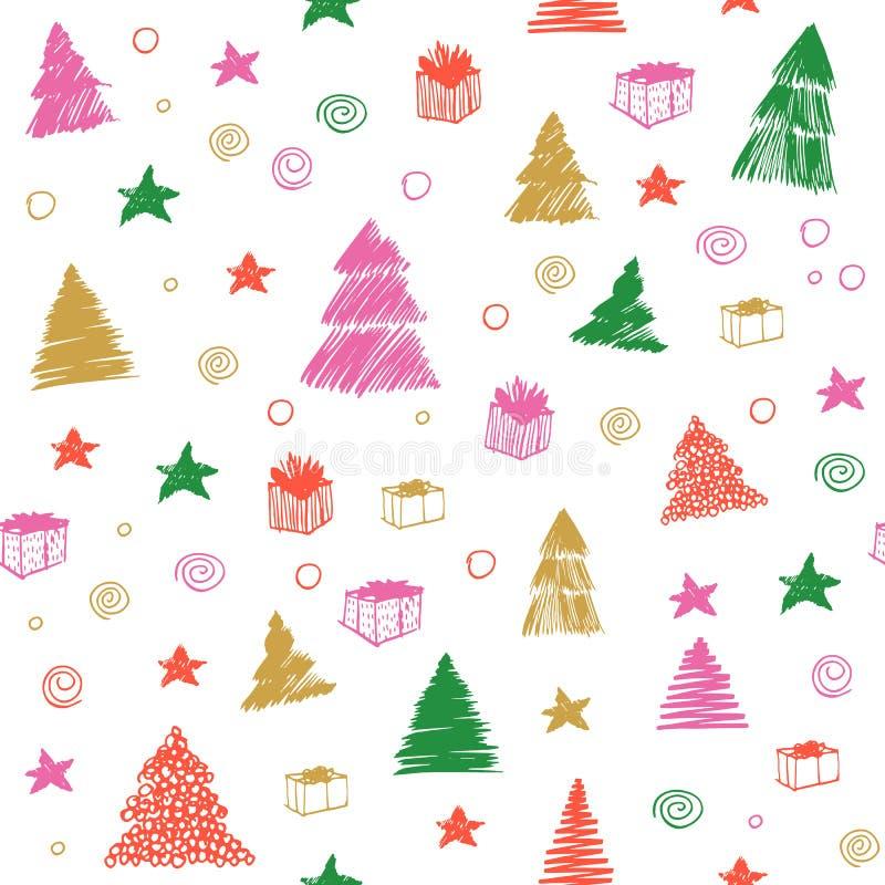 圣诞节模式无缝的结构树 手拉的传染媒介彩图剪影 在白色隔绝的乱画背景 皇族释放例证
