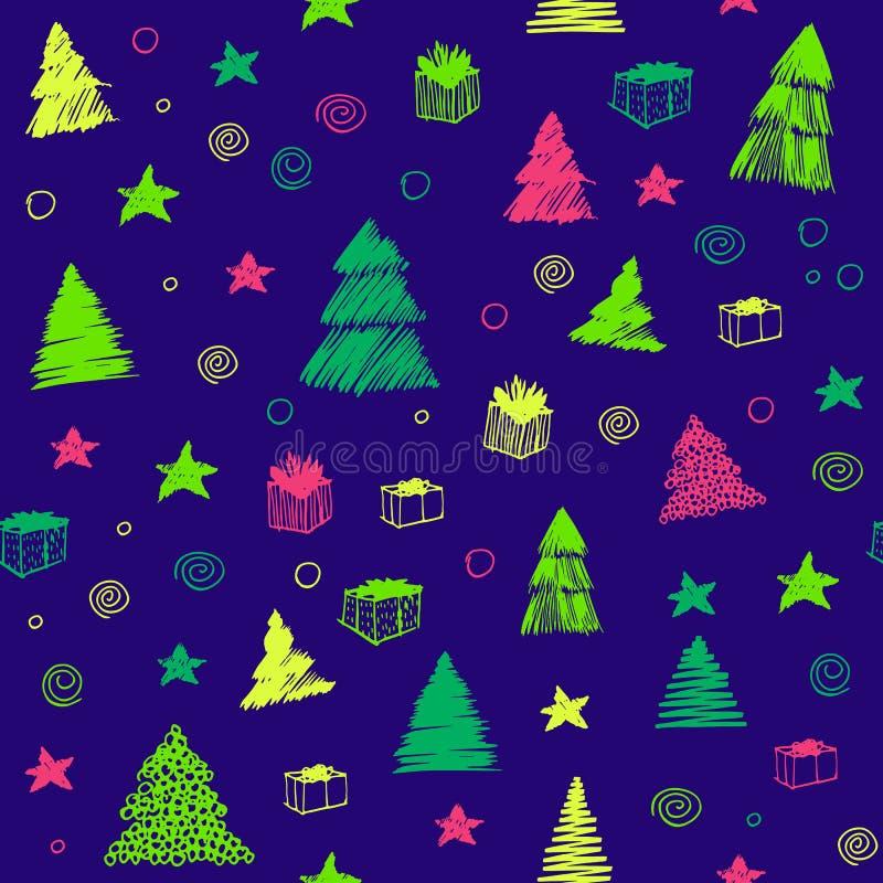 圣诞节模式无缝的结构树 手拉的传染媒介彩图剪影 背景逗人喜爱的乱画 向量例证
