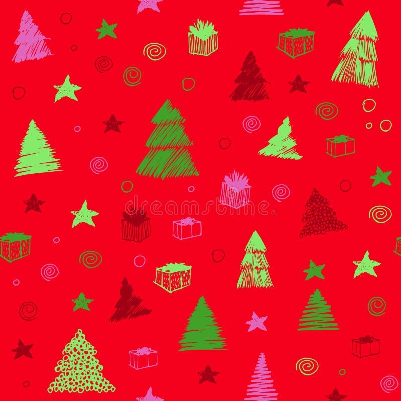 圣诞节模式无缝的结构树 手拉的传染媒介彩图剪影 背景逗人喜爱的乱画 库存例证