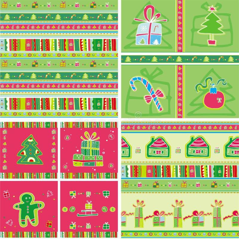 圣诞节模式无缝的集 向量例证