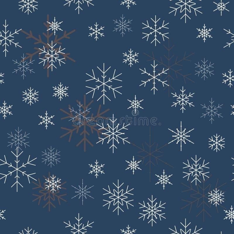 圣诞节模式无缝的雪花 背景蓝色可能一切认为什么您 库存例证