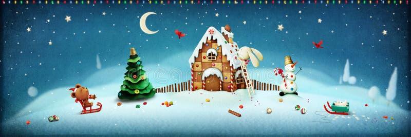 圣诞节横向魔术晚上 免版税库存照片