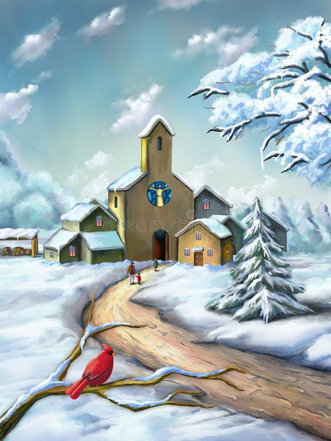 圣诞节横向魔术晚上 库存例证