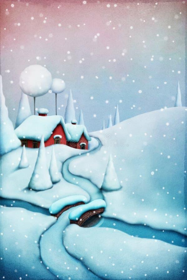 圣诞节横向魔术晚上 向量例证
