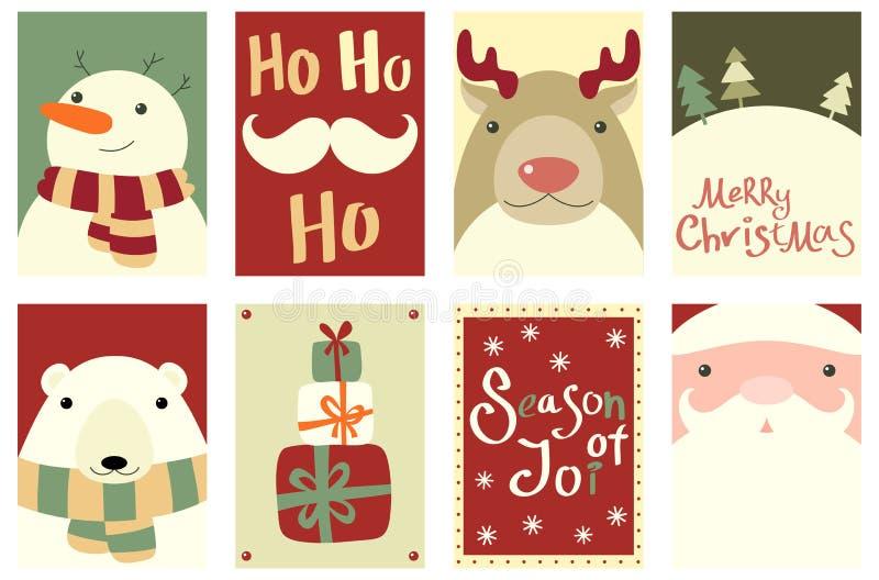 圣诞节横幅的汇集与逗人喜爱的动物和圣诞老人Clau的 皇族释放例证