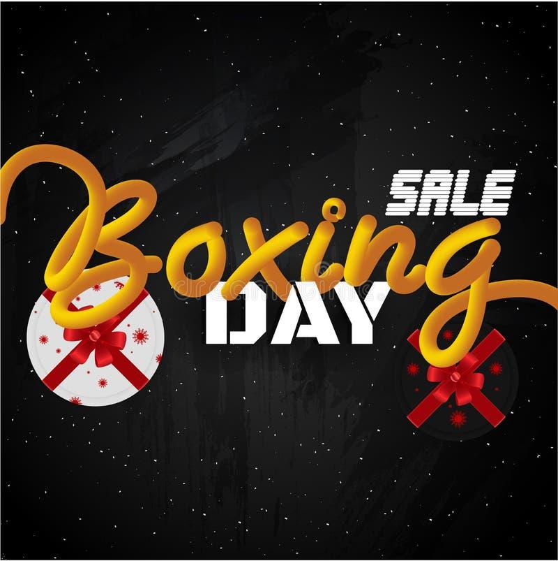 圣诞节次日销售与礼物盒的横幅或模板设计在bla 向量例证