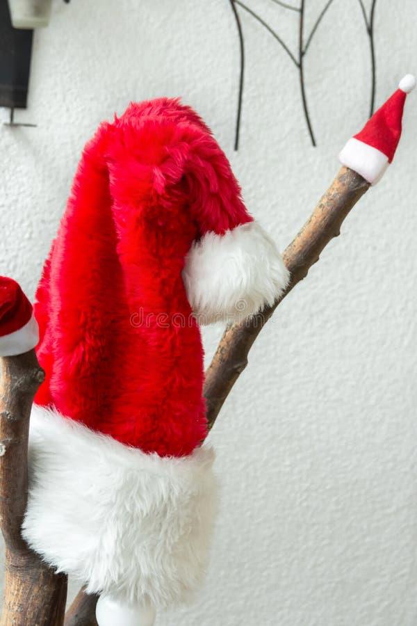圣诞节欢乐家庭室内装饰 垂悬在树枝的大和小圣诞老人项目帽子 白色墙壁背景 免版税库存图片
