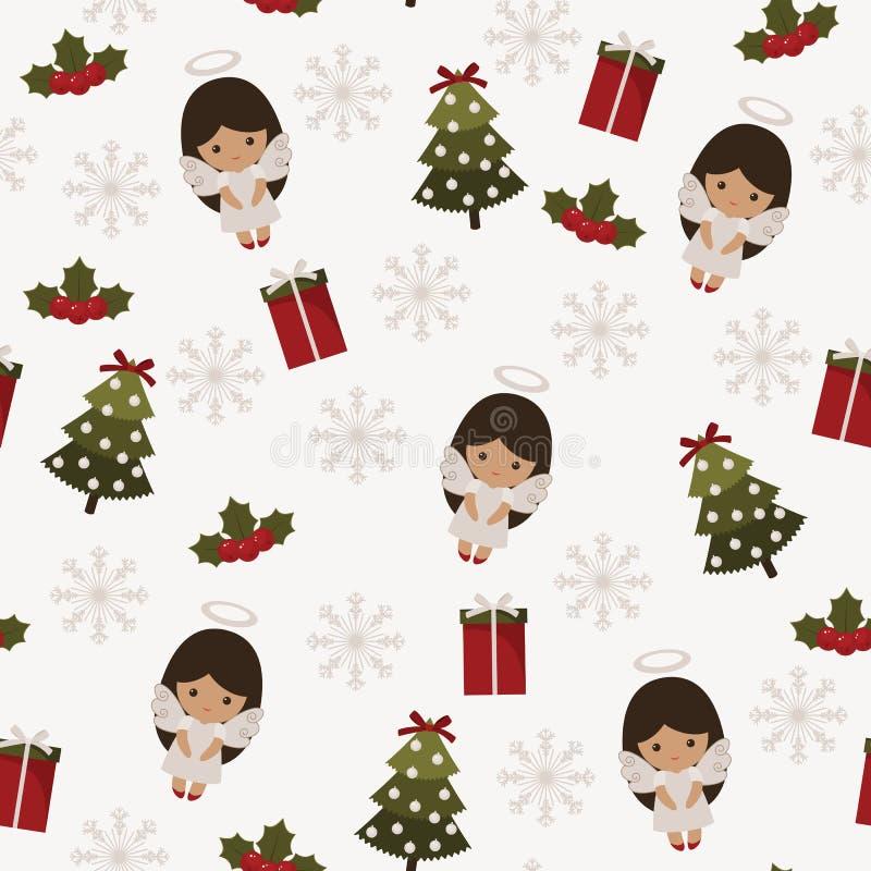 圣诞节欢乐无缝的样式 库存例证
