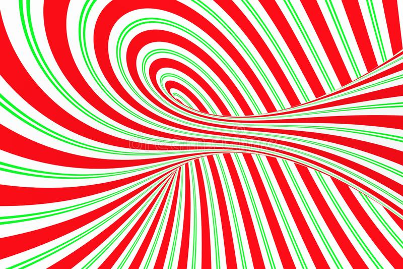 圣诞节欢乐红色和绿色螺旋隧道 镶边扭转的xmas错觉 催眠背景 3d例证回报 向量例证