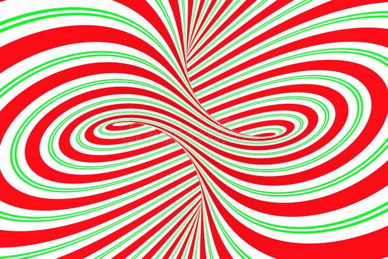 圣诞节欢乐红色和绿色螺旋隧道 镶边扭转的xmas错觉 催眠背景 3d例证回报 皇族释放例证