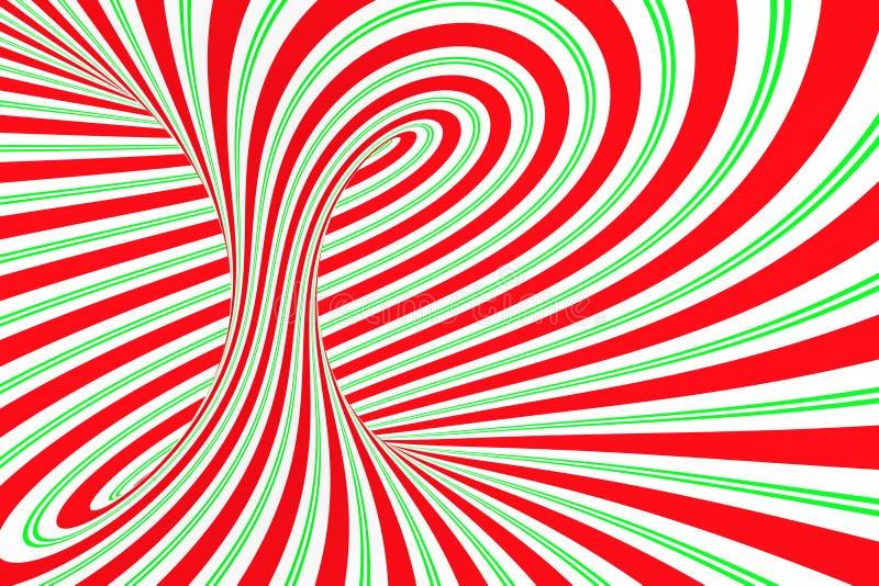 圣诞节欢乐红色和绿色螺旋隧道 镶边扭转的xmas错觉 催眠背景 3d例证回报 库存例证