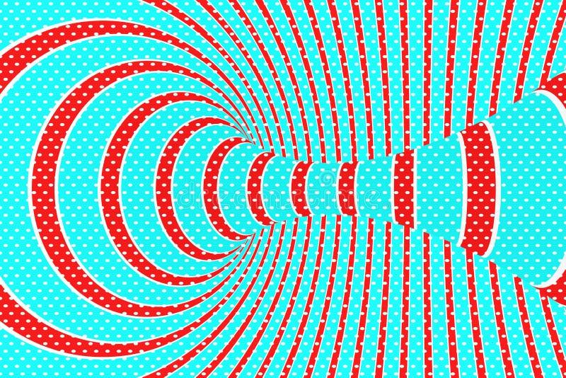 圣诞节欢乐红色和蓝色螺旋隧道 镶边扭转的xmas错觉 催眠背景 3d例证回报 向量例证