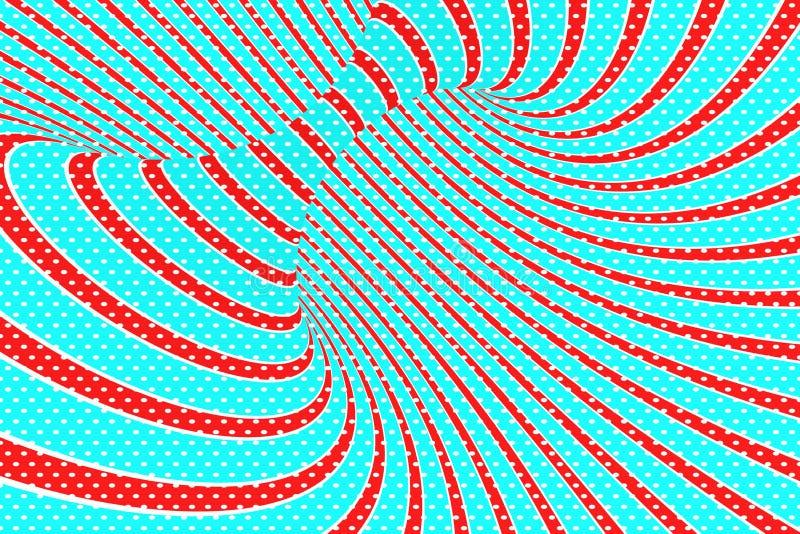 圣诞节欢乐红色和蓝色螺旋隧道 镶边扭转的xmas错觉 催眠背景 3d例证回报 库存例证