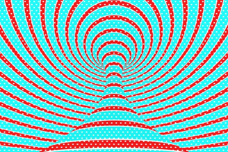 圣诞节欢乐红色和蓝色螺旋隧道 镶边扭转的xmas错觉 催眠背景 3d例证回报 皇族释放例证