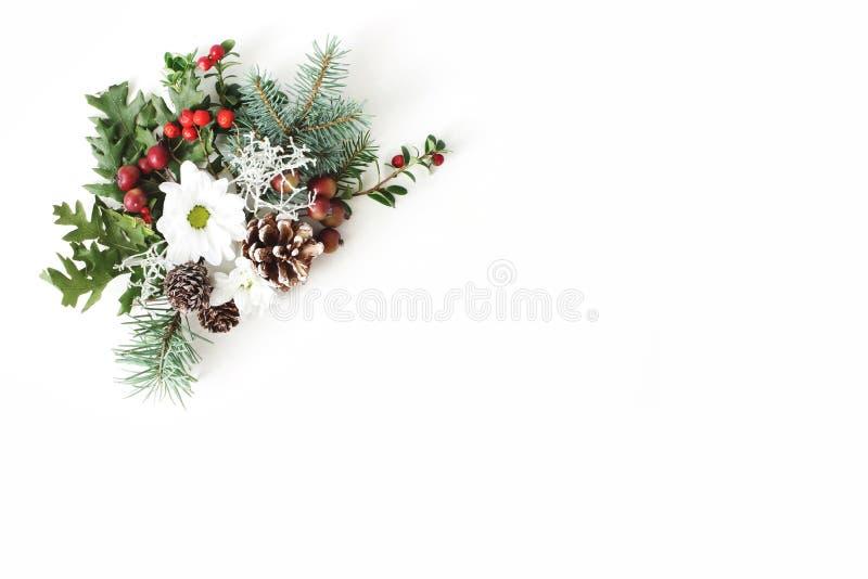 圣诞节欢乐花卉构成 杉木锥体、冷杉、树枝、橡木叶子、红色花楸浆果和菊花 免版税库存照片