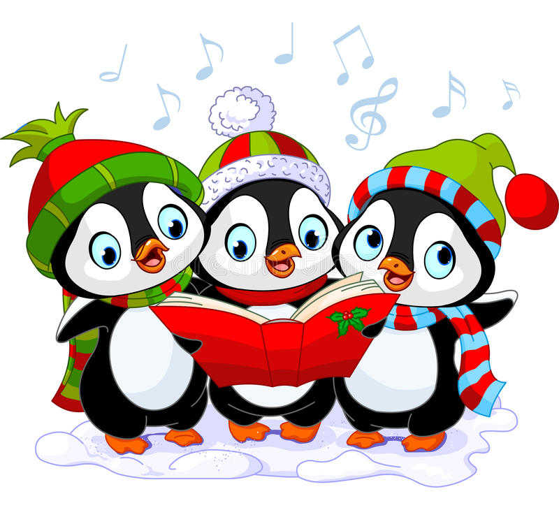 圣诞节欢唱企鹅 库存例证