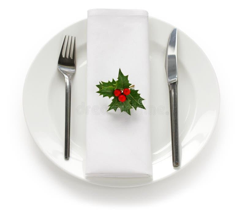 圣诞节正餐设置表 库存照片