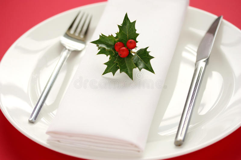 圣诞节正餐设置表 免版税库存图片