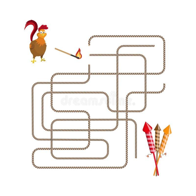 圣诞节比赛:迷宫 帮助选择雄鸡奔跑致敬 向量例证