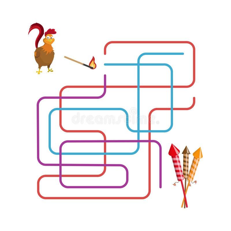 圣诞节比赛:迷宫 帮助选择雄鸡奔跑致敬 皇族释放例证
