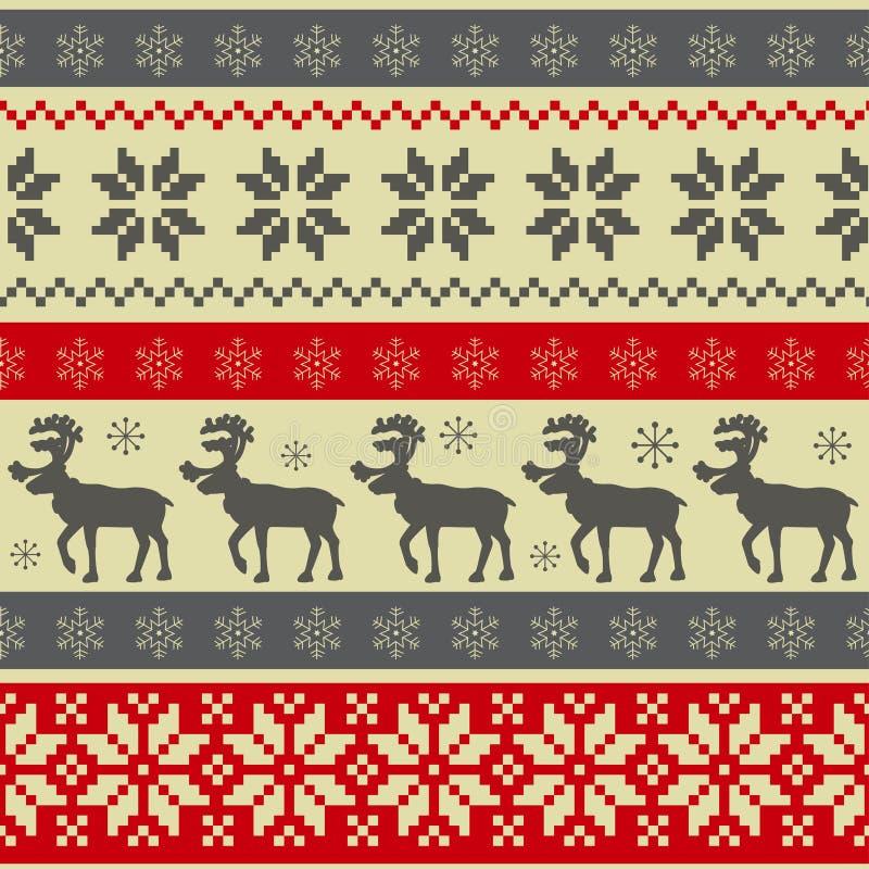 圣诞节民间模式无缝的样式 库存例证