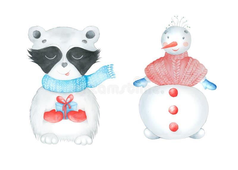 圣诞节水彩动物设置了浣熊和雪人 皇族释放例证