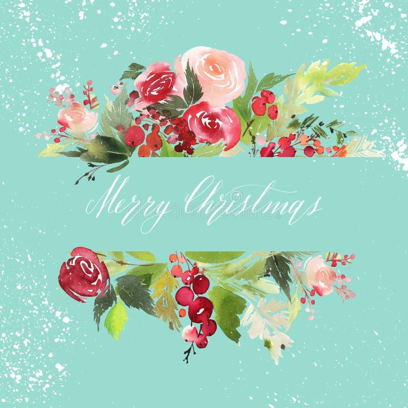 圣诞节水彩明信片 库存照片