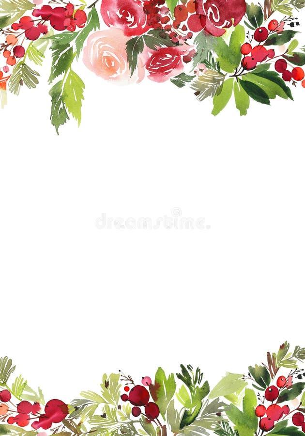 圣诞节水彩明信片 免版税库存图片