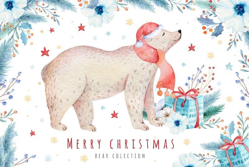 圣诞节水彩熊 逗人喜爱的孩子xmas森林负担动物例证、新年卡片或者海报 手拉的托儿所 向量例证