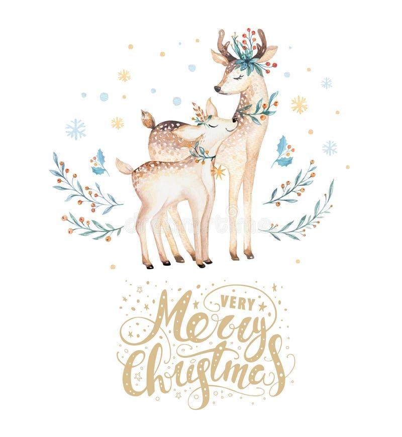 圣诞节水彩鹿 逗人喜爱的孩子xmas森林动物例证、新年卡片或者海报 手拉的被隔绝的婴孩 库存例证