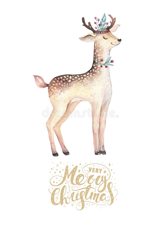 圣诞节水彩鹿 逗人喜爱的孩子xmas森林动物例证、新年卡片或者海报 手拉的被隔绝的婴孩 向量例证