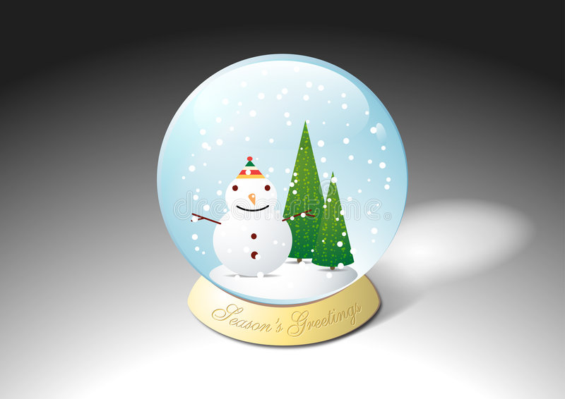 圣诞节水晶雪球水 皇族释放例证