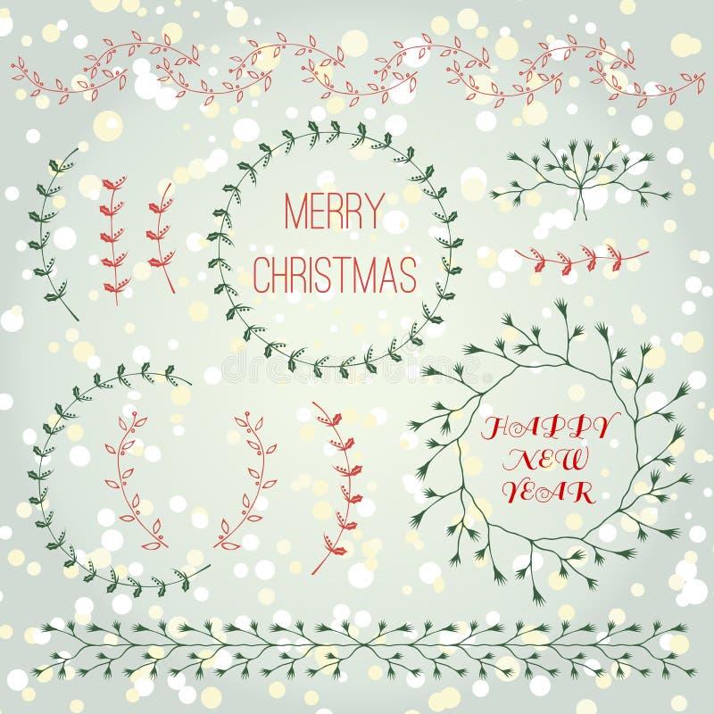 圣诞节汇集手拉的分支设计元素集 皇族释放例证